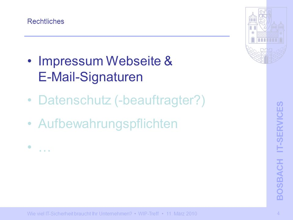 Impressum Webseite & E-Mail-Signaturen Datenschutz (-beauftragter )
