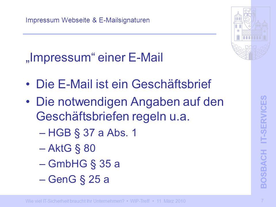 Impressum Webseite & E-Mailsignaturen