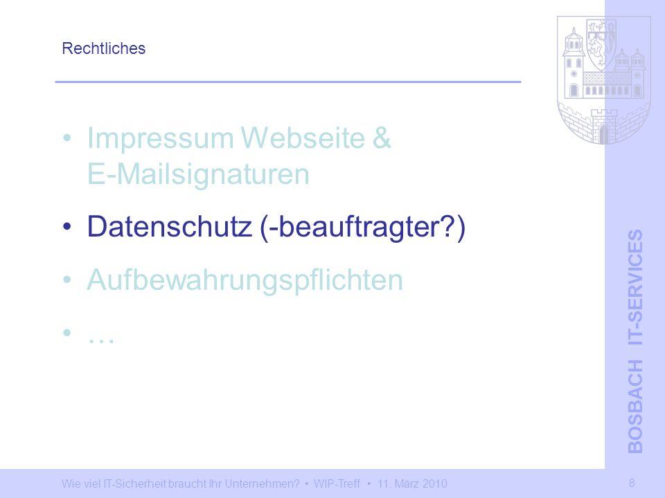 Impressum Webseite & E-Mailsignaturen Datenschutz (-beauftragter )