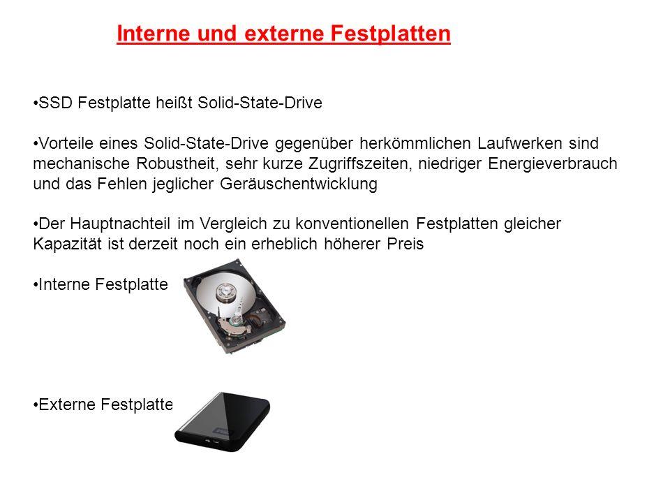 Interne und externe Festplatten