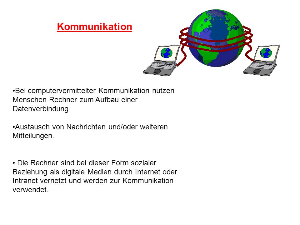 Kommunikation Bei computervermittelter Kommunikation nutzen Menschen Rechner zum Aufbau einer Datenverbindung.