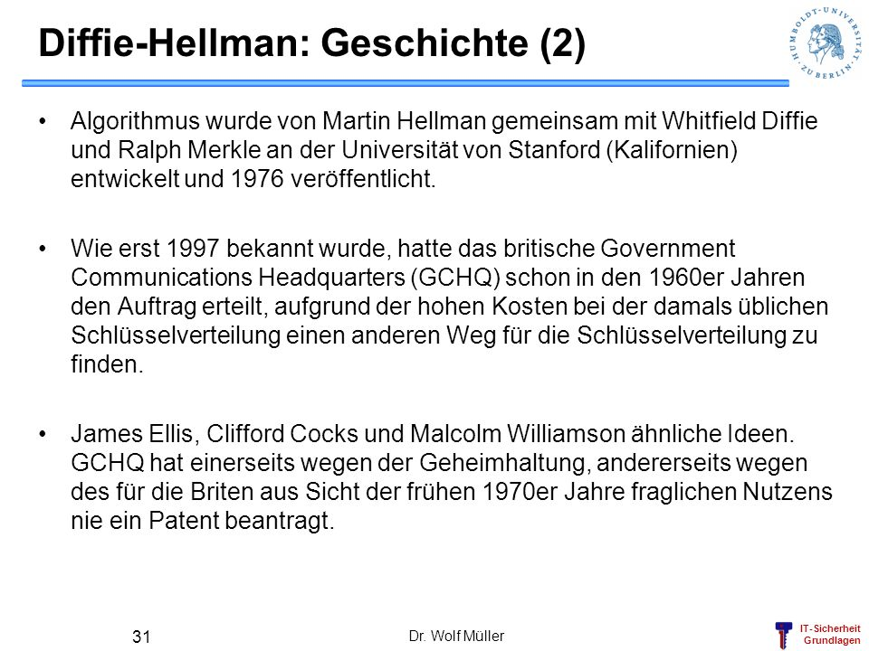 Diffie-Hellman: Geschichte (2)