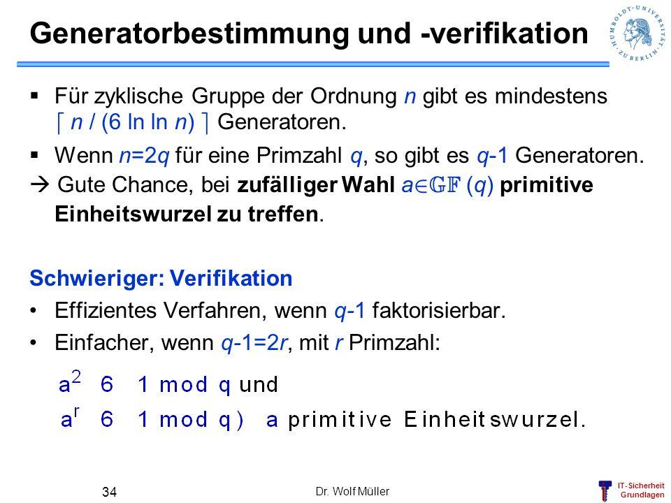 Generatorbestimmung und -verifikation