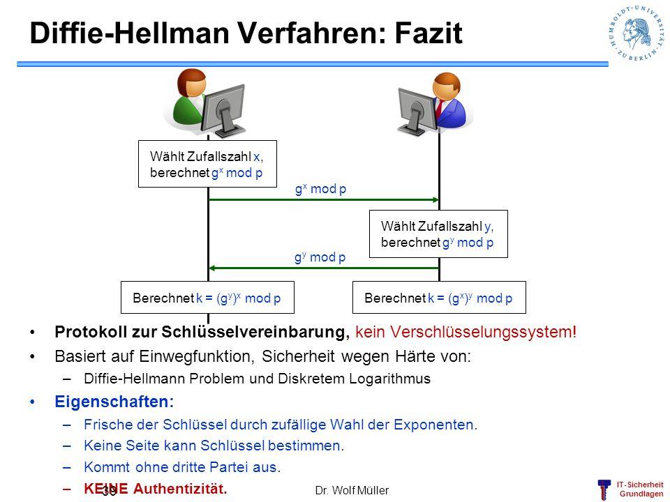 Diffie-Hellman Verfahren: Fazit