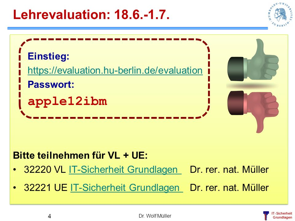 Lehrevaluation: apple12ibm Einstieg: