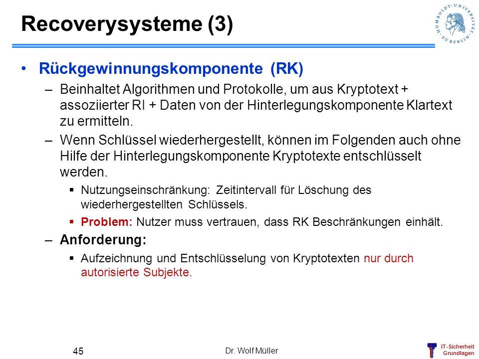 Recoverysysteme (3) Rückgewinnungskomponente (RK)