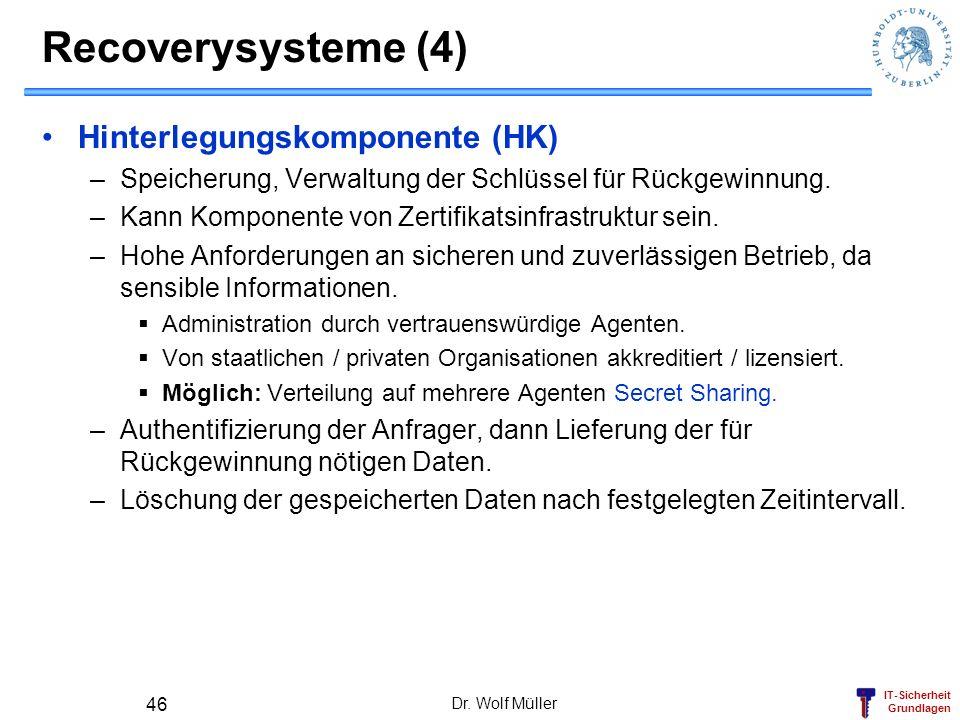 Recoverysysteme (4) Hinterlegungskomponente (HK)