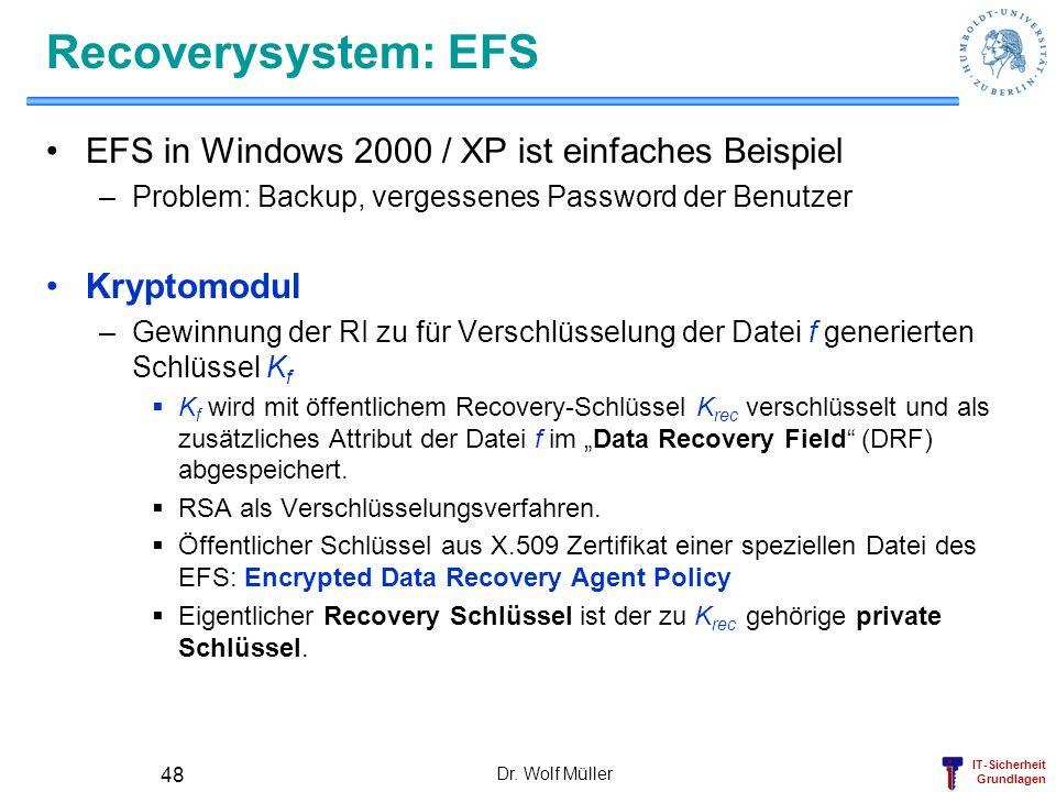 Recoverysystem: EFS EFS in Windows 2000 / XP ist einfaches Beispiel