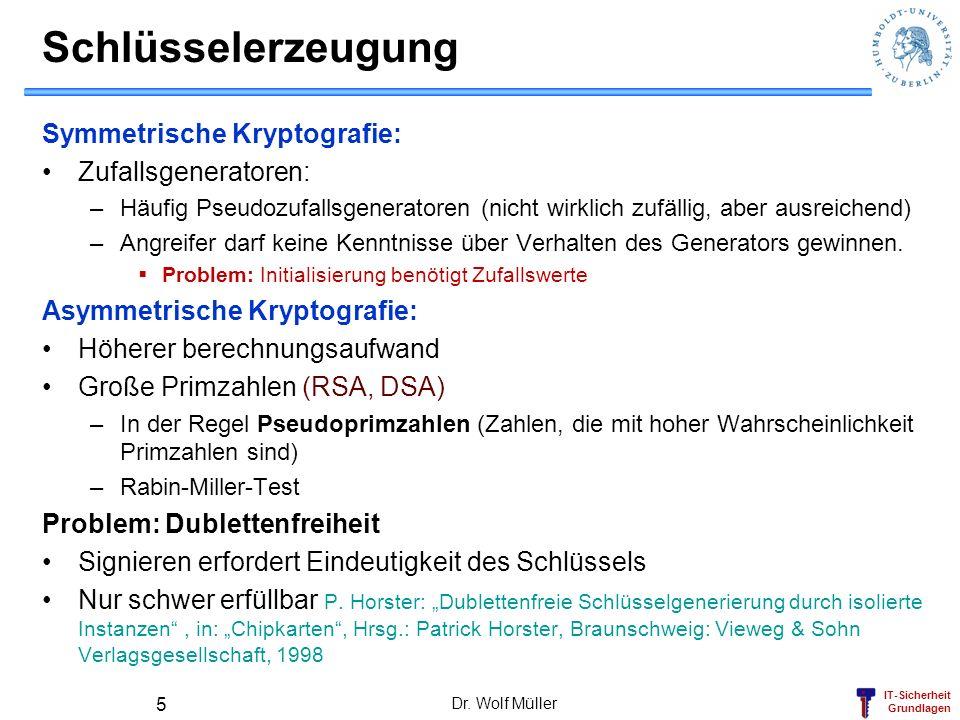 Schlüsselerzeugung Symmetrische Kryptografie: Zufallsgeneratoren: