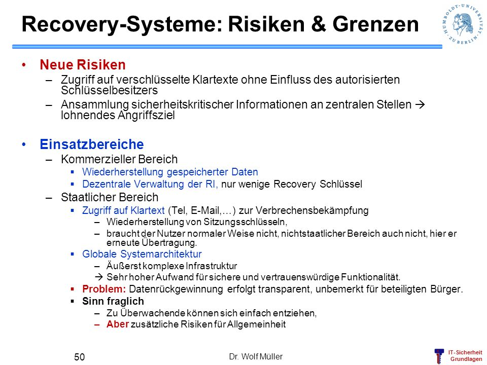 Recovery-Systeme: Risiken & Grenzen