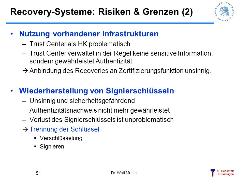 Recovery-Systeme: Risiken & Grenzen (2)