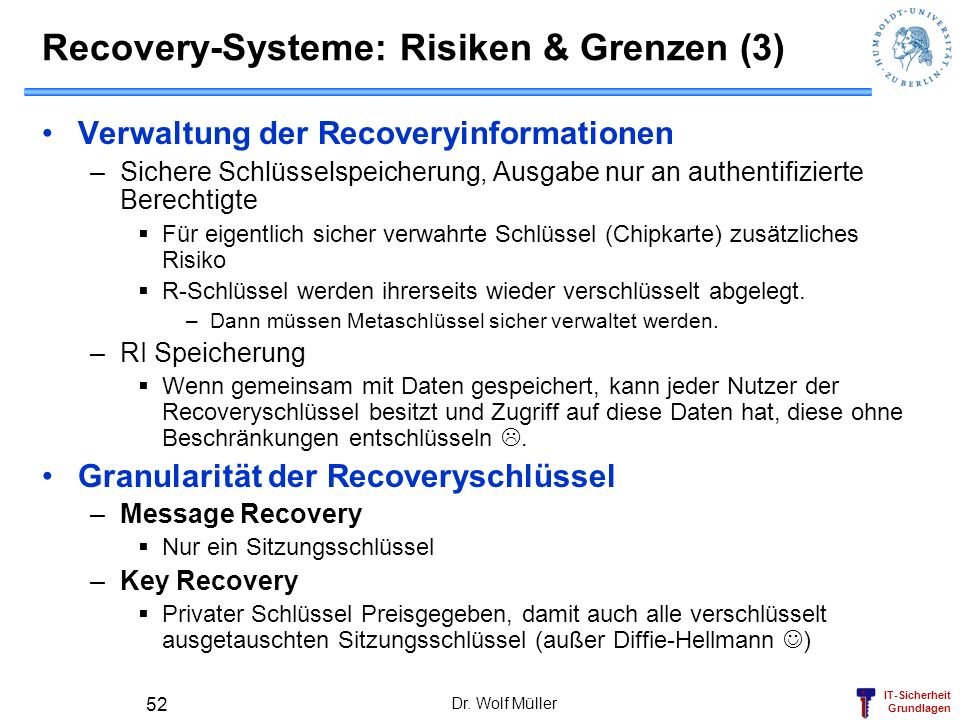 Recovery-Systeme: Risiken & Grenzen (3)