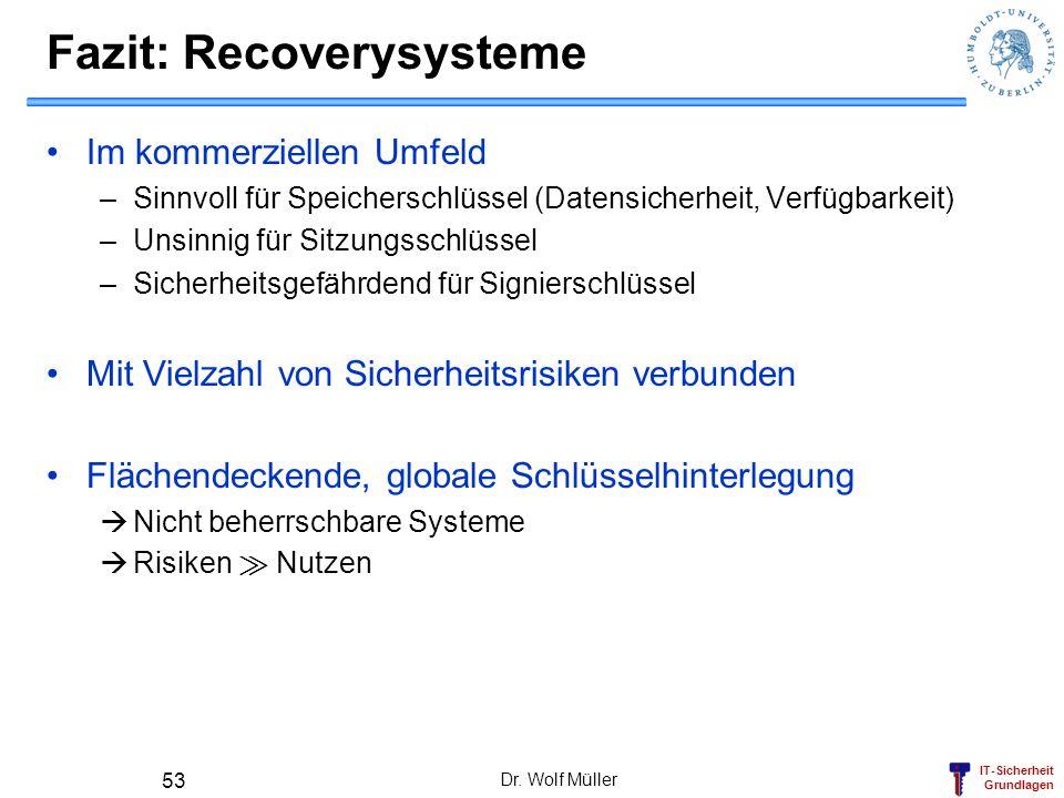 Fazit: Recoverysysteme