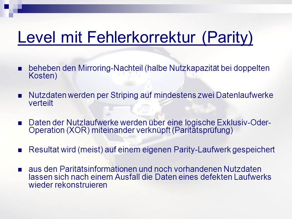 Level mit Fehlerkorrektur (Parity)