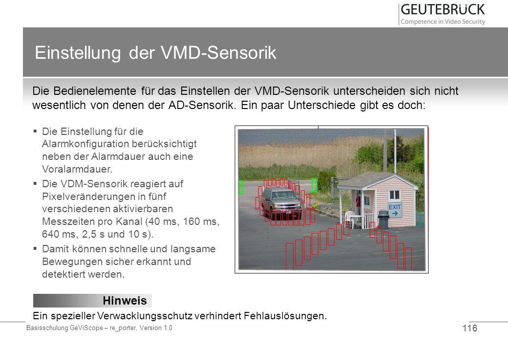 Einstellung der VMD-Sensorik