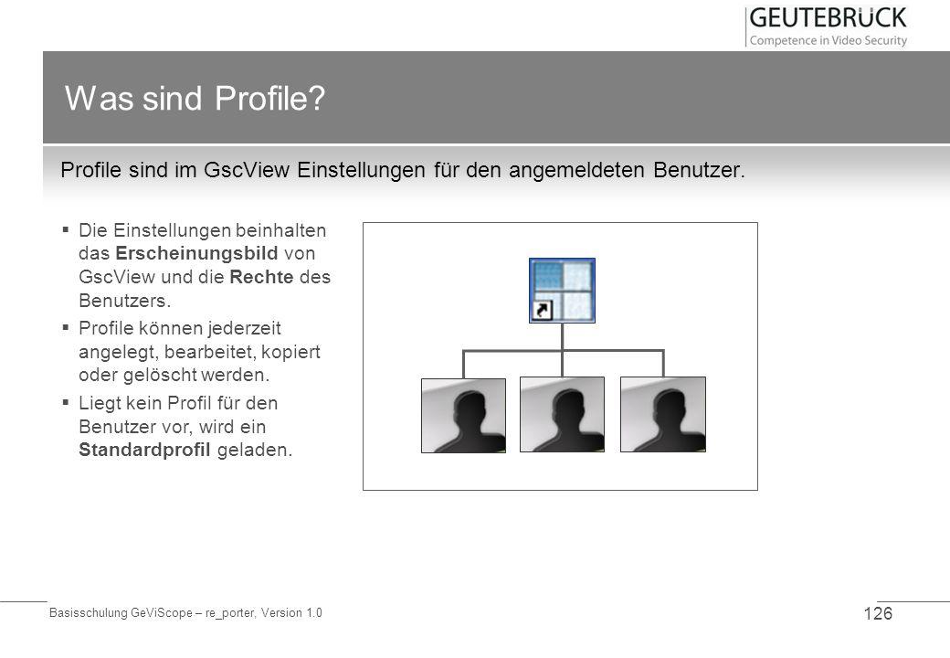 Was sind Profile Profile sind im GscView Einstellungen für den angemeldeten Benutzer.