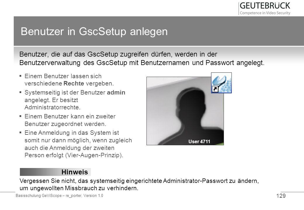 Benutzer in GscSetup anlegen