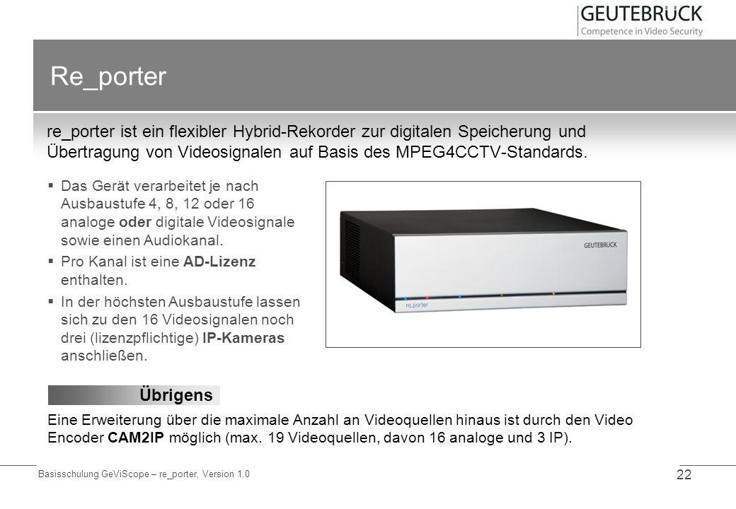 Re_porter re_porter ist ein flexibler Hybrid-Rekorder zur digitalen Speicherung und Übertragung von Videosignalen auf Basis des MPEG4CCTV-Standards.
