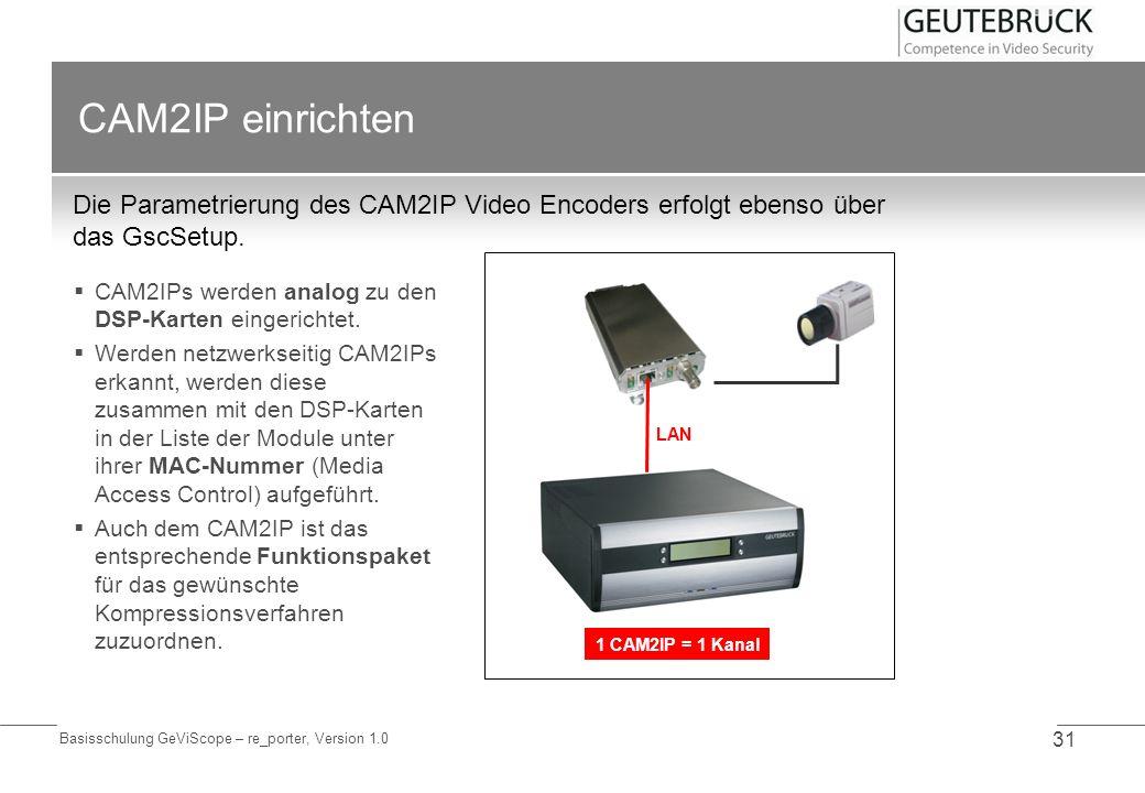CAM2IP einrichtenDie Parametrierung des CAM2IP Video Encoders erfolgt ebenso über das GscSetup.