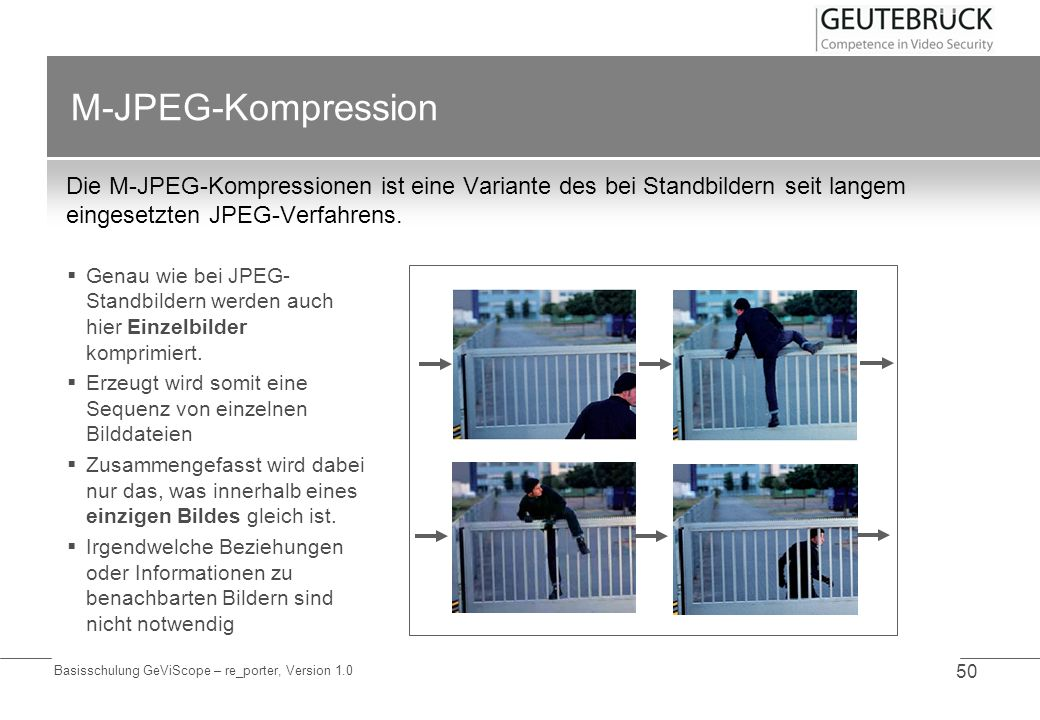 M-JPEG-KompressionDie M-JPEG-Kompressionen ist eine Variante des bei Standbildern seit langem eingesetzten JPEG-Verfahrens.
