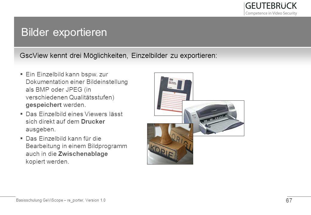 Bilder exportieren GscView kennt drei Möglichkeiten, Einzelbilder zu exportieren: