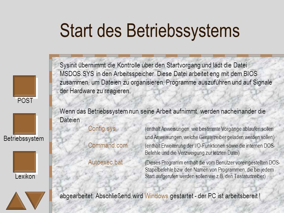 Start des Betriebssystems