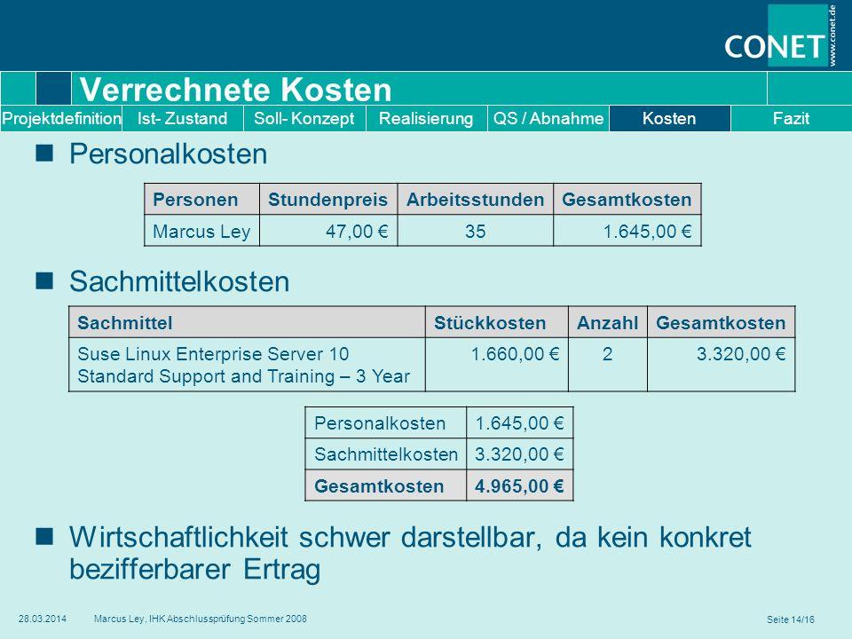 Verrechnete Kosten Personalkosten Sachmittelkosten