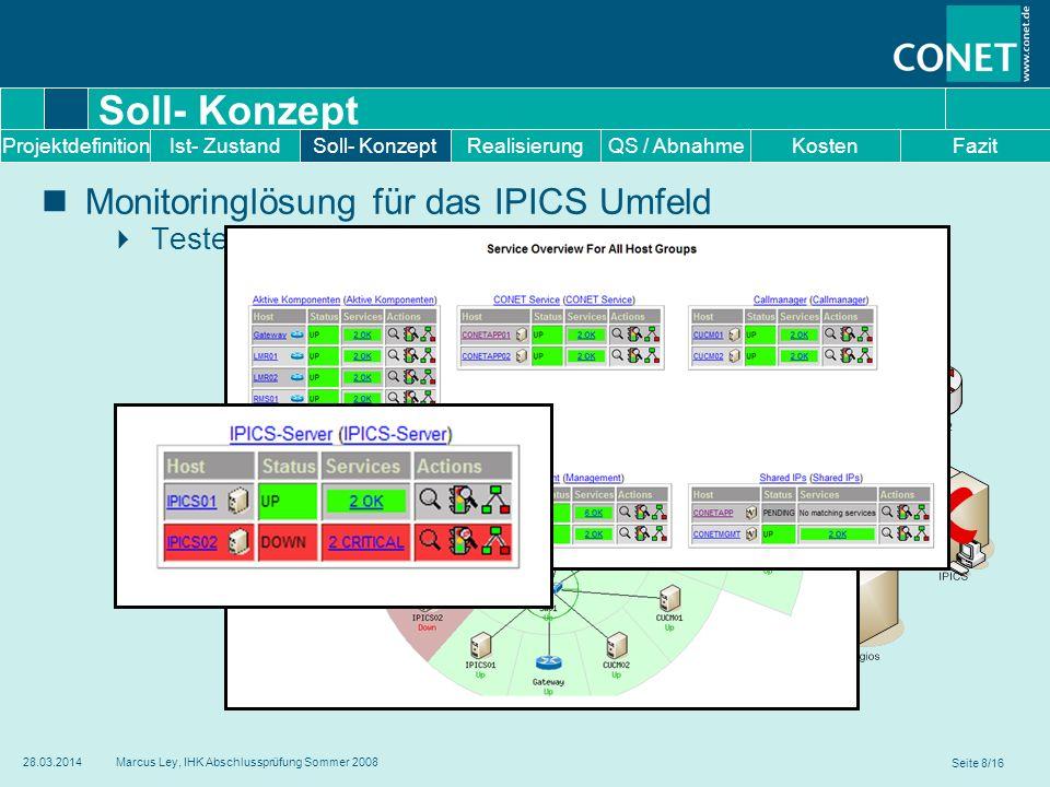  Soll- Konzept !  Monitoringlösung für das IPICS Umfeld