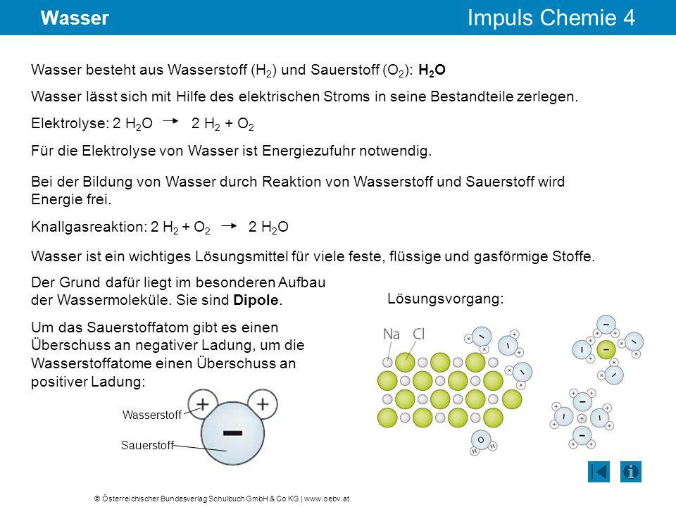 Wasser Wasser besteht aus Wasserstoff (H2) und Sauerstoff (O2): H2O