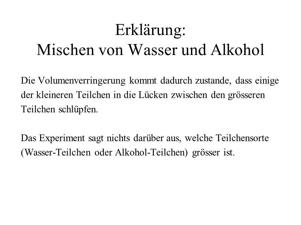 Erklärung: Mischen von Wasser und Alkohol