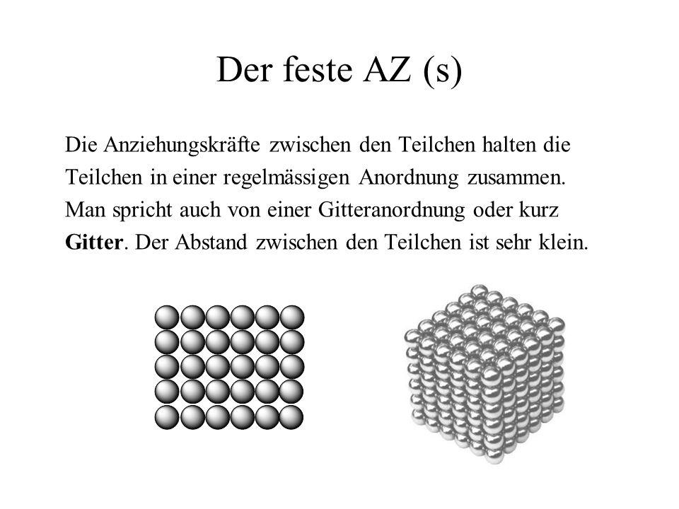Der feste AZ (s) Die Anziehungskräfte zwischen den Teilchen halten die