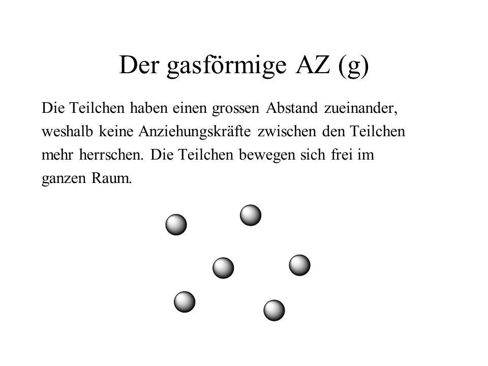 Der gasförmige AZ (g) Die Teilchen haben einen grossen Abstand zueinander, weshalb keine Anziehungskräfte zwischen den Teilchen.