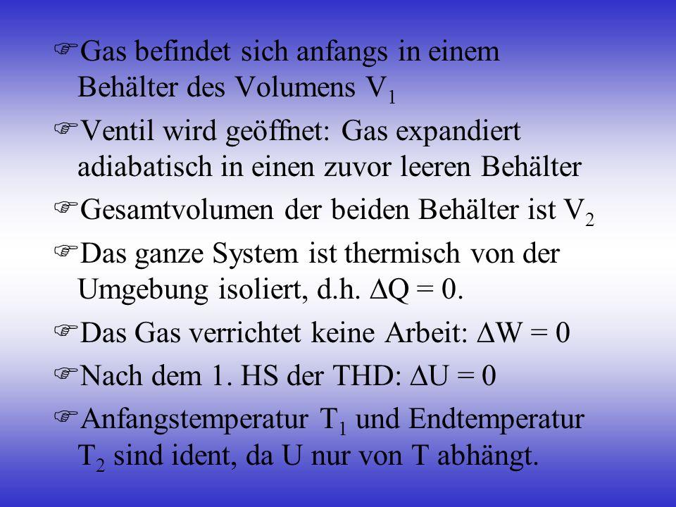Gas befindet sich anfangs in einem Behälter des Volumens V1