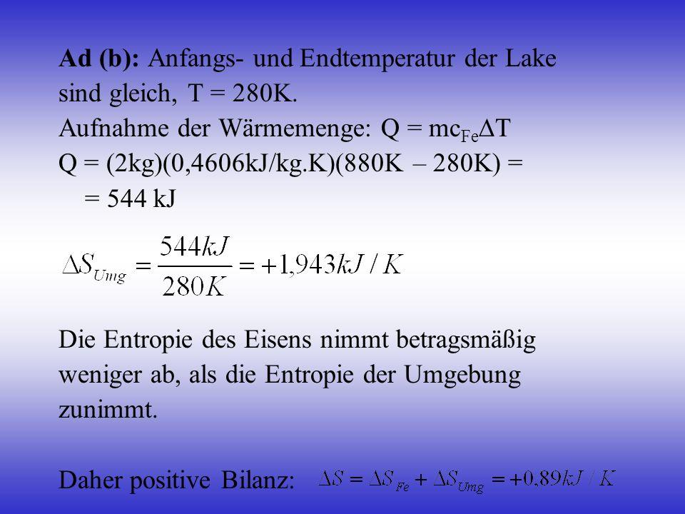 Ad (b): Anfangs- und Endtemperatur der Lake
