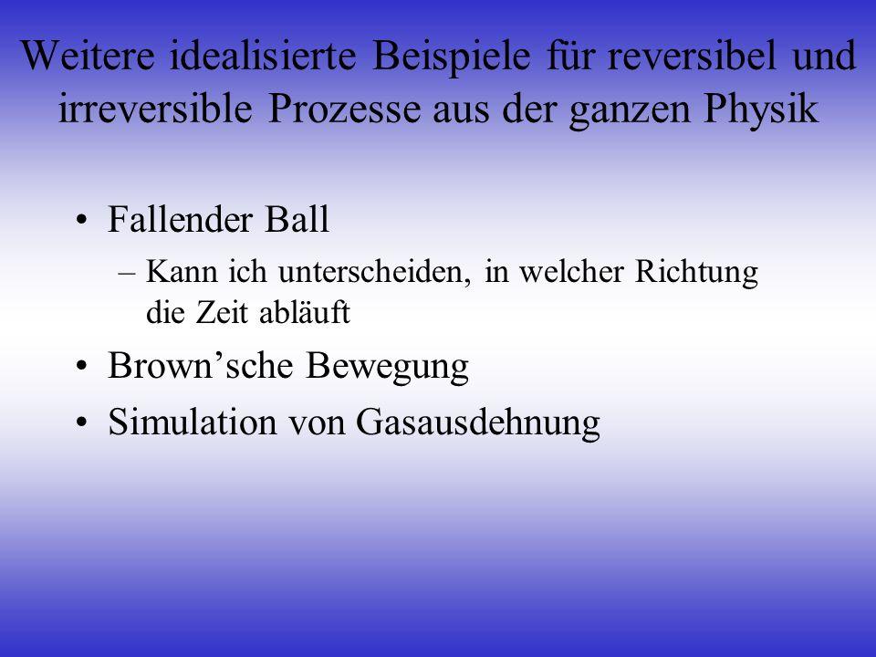 Weitere idealisierte Beispiele für reversibel und irreversible Prozesse aus der ganzen Physik