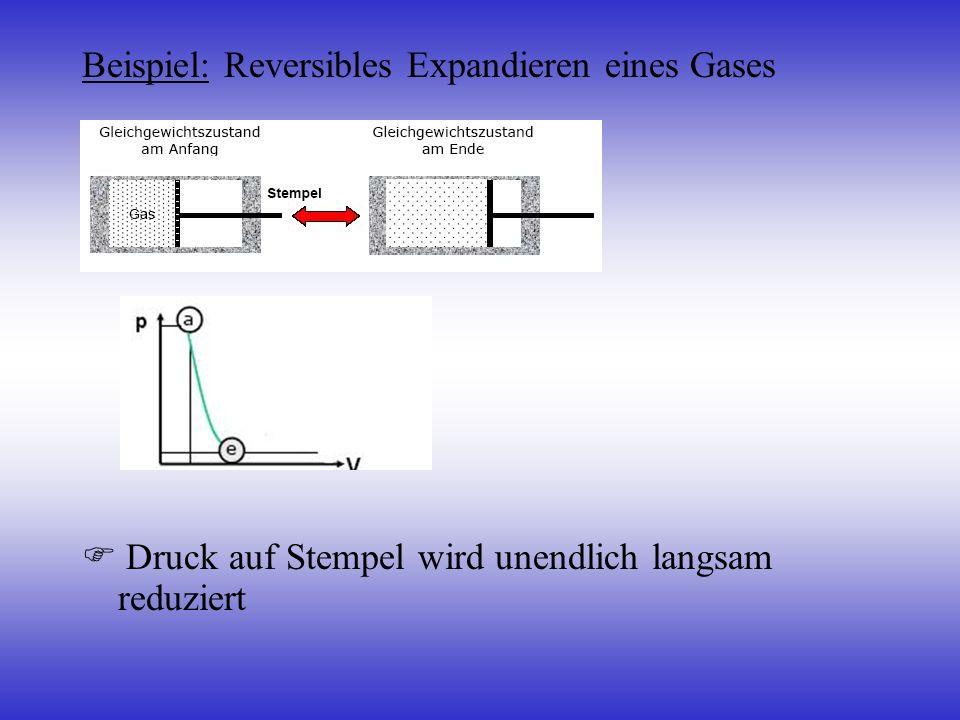 Beispiel: Reversibles Expandieren eines Gases