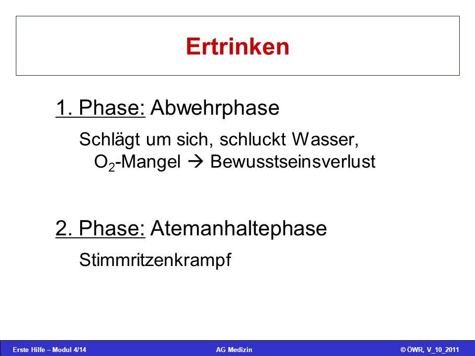 Ertrinken 1. Phase: Abwehrphase 2. Phase: Atemanhaltephase