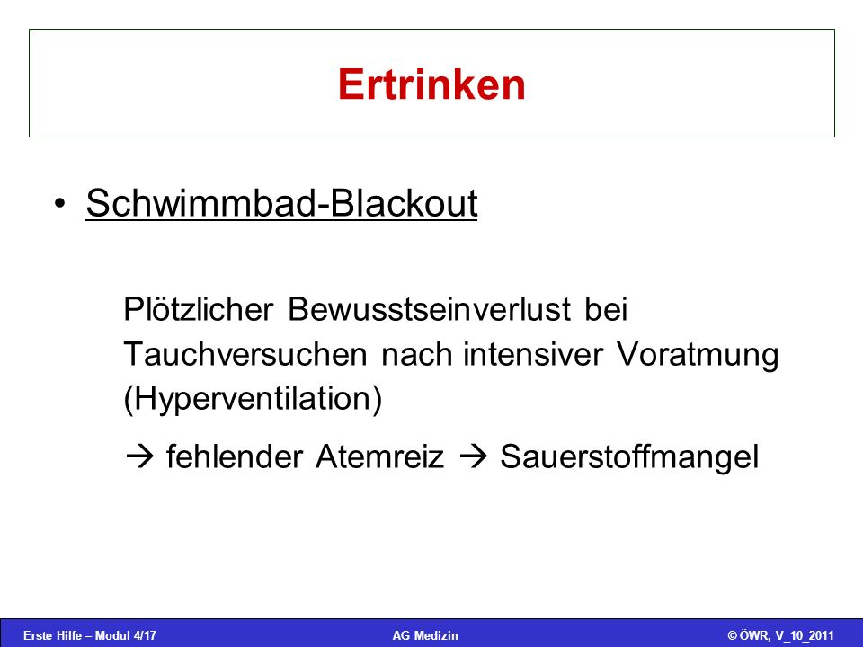 Ertrinken Schwimmbad-Blackout