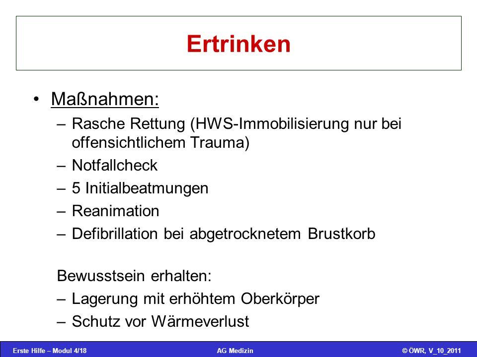 Ertrinken Maßnahmen: Rasche Rettung (HWS-Immobilisierung nur bei offensichtlichem Trauma) Notfallcheck.