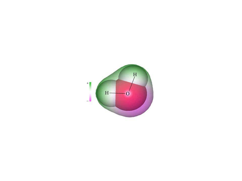 Die Ladungsverteilung im Wassermolekül bunt dargestellt.