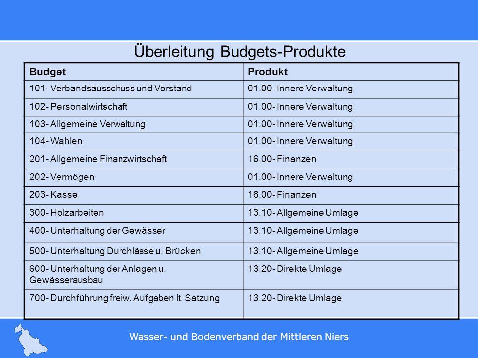 Überleitung Budgets-Produkte