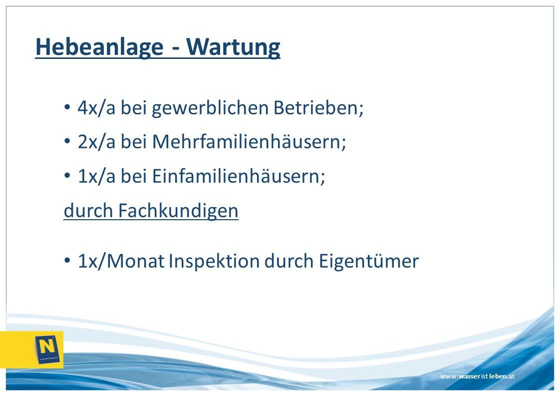 Hebeanlage - Wartung 4x/a bei gewerblichen Betrieben;