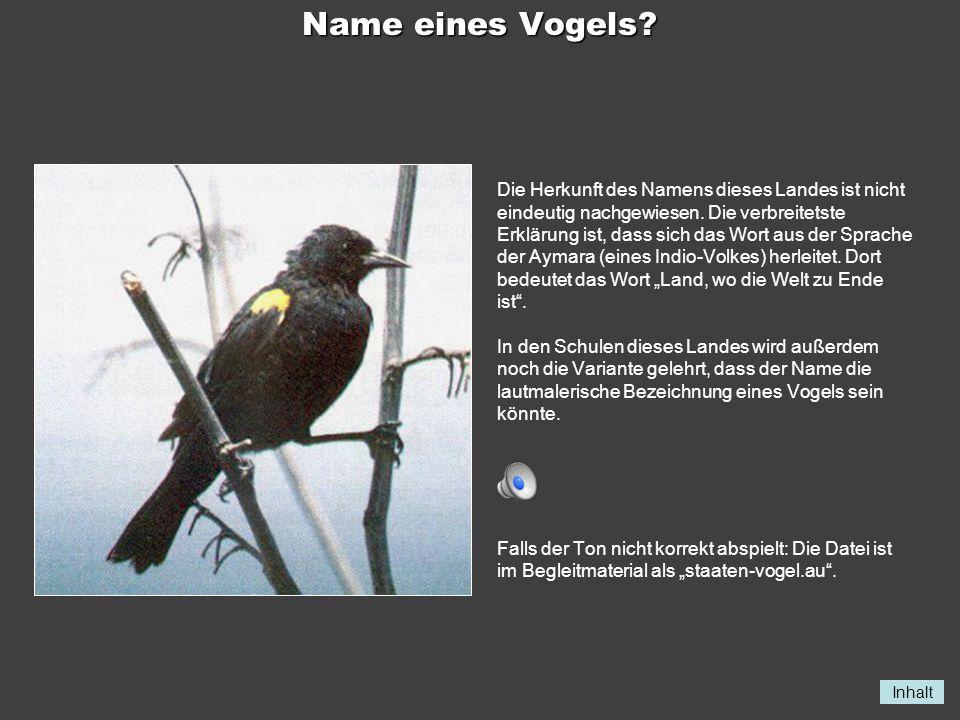 Name eines Vogels