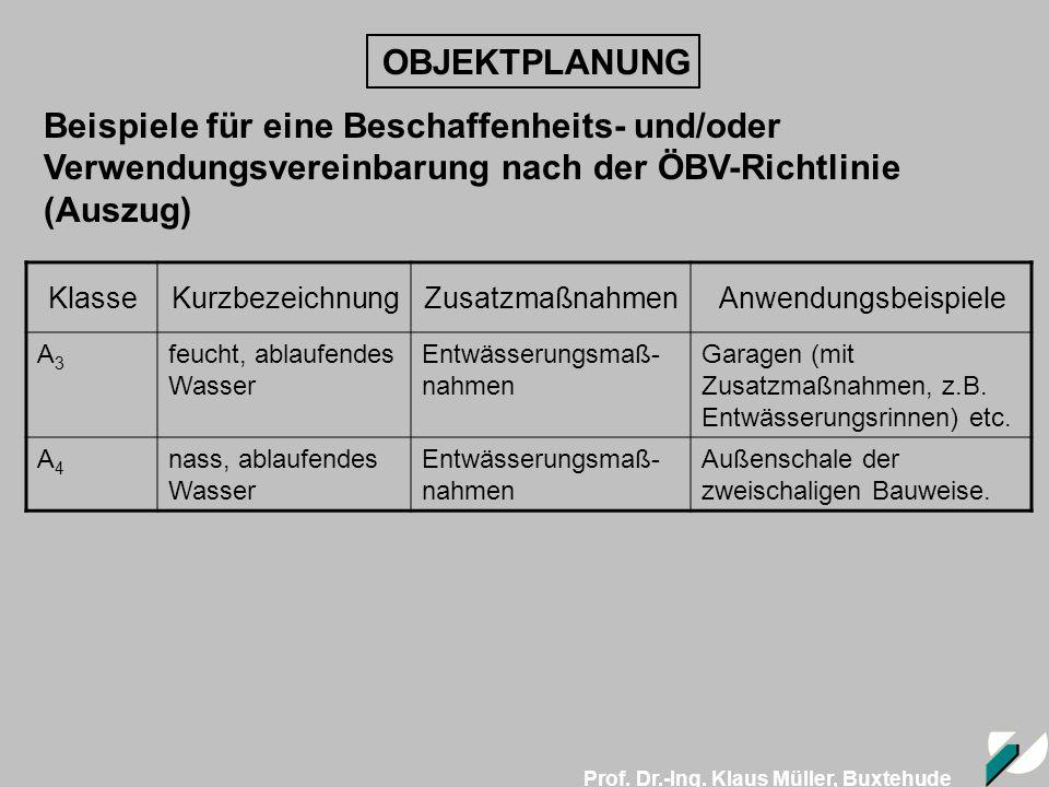 OBJEKTPLANUNG Beispiele für eine Beschaffenheits- und/oder Verwendungsvereinbarung nach der ÖBV-Richtlinie (Auszug)