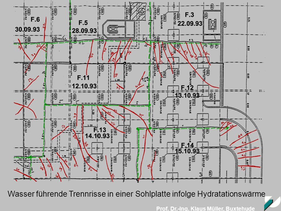 Wasser führende Trennrisse in einer Sohlplatte infolge Hydratationswärme