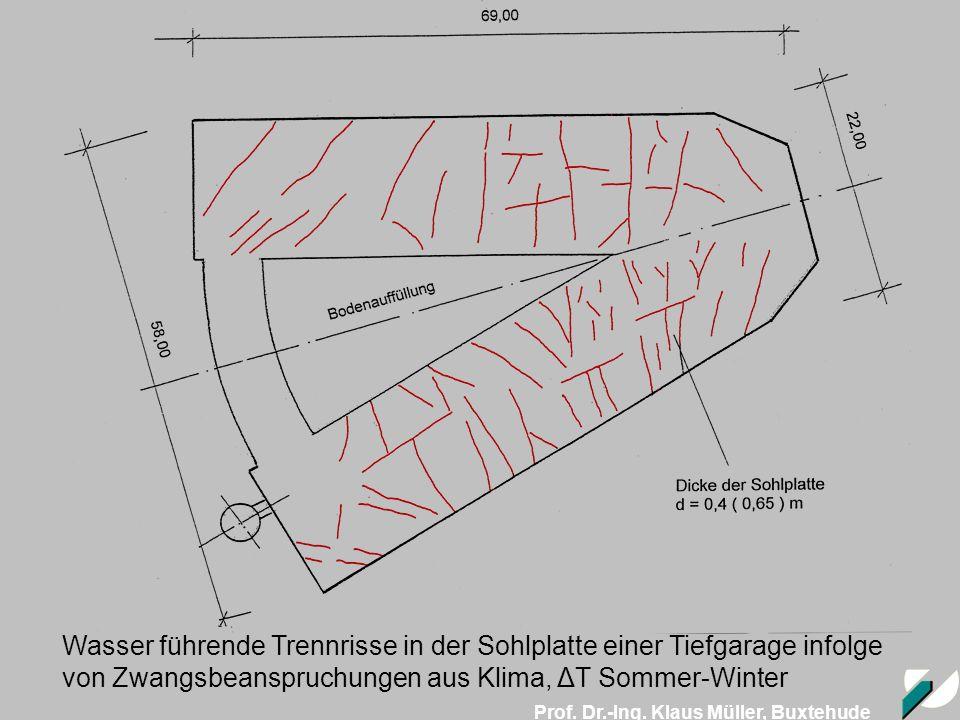 Wasser führende Trennrisse in der Sohlplatte einer Tiefgarage infolge von Zwangsbeanspruchungen aus Klima, ΔT Sommer-Winter