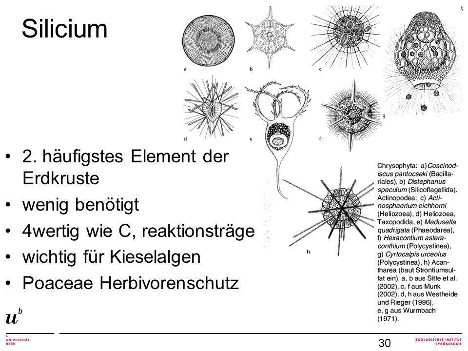Silicium 2. häufigstes Element der Erdkruste wenig benötigt