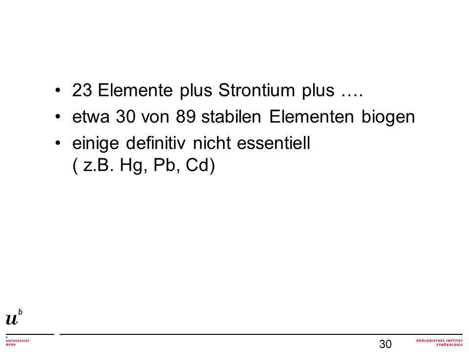 23 Elemente plus Strontium plus ….