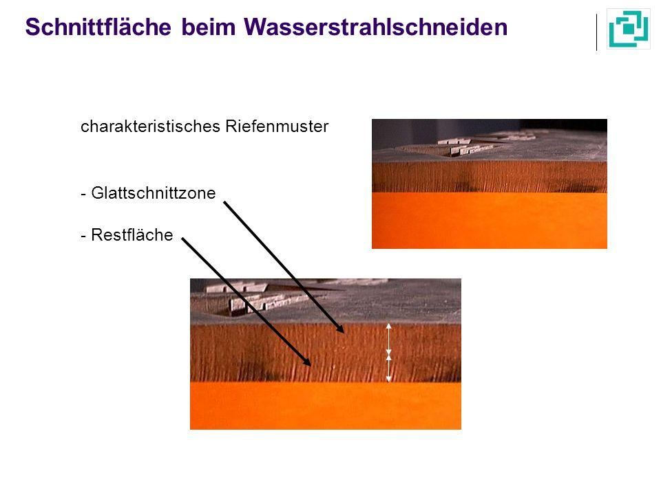 Schnittfläche beim Wasserstrahlschneiden