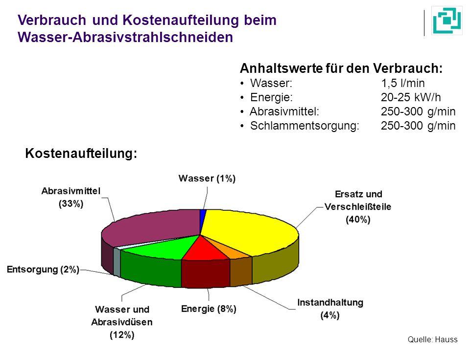 Verbrauch und Kostenaufteilung beim Wasser-Abrasivstrahlschneiden